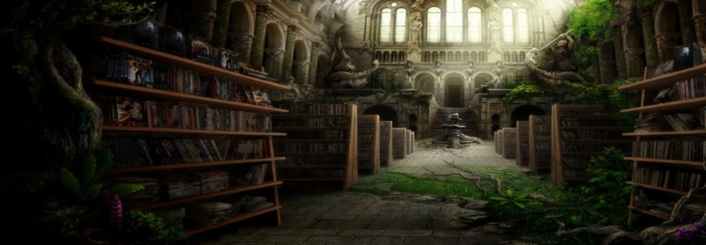 magical forest in a library