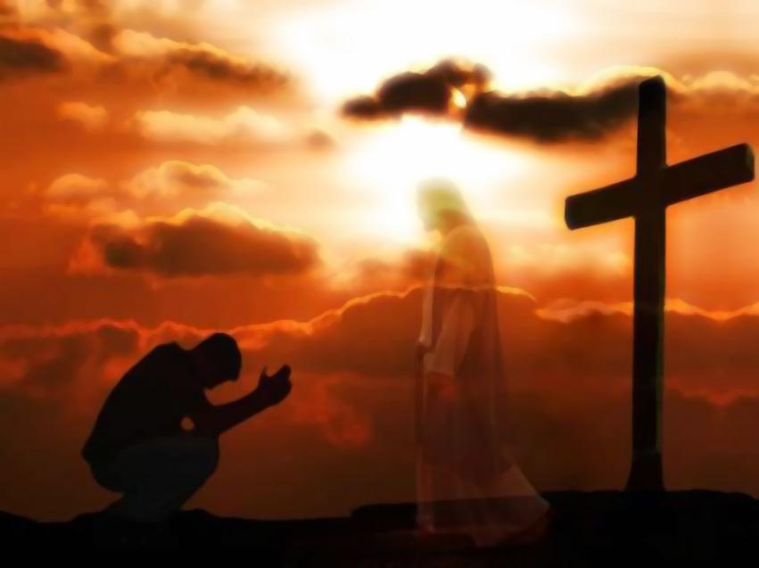 kneeling before Jesus