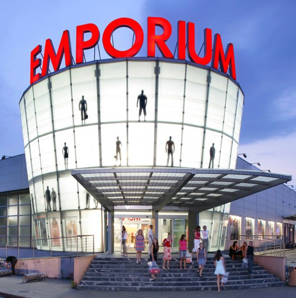 Protest Emporium building with customers