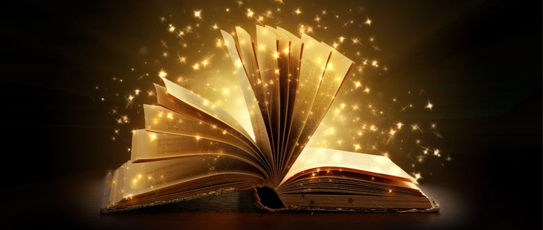 open book with sparkles